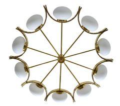 Italian Modern Round Brass and Ten Opaline Glass Globe Chandelier