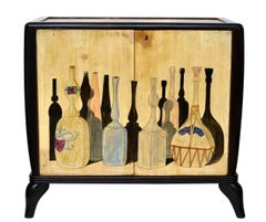 1950 Hand-Painted Burl Wood Bar Cabinet in the Style of Giorgio Morandi