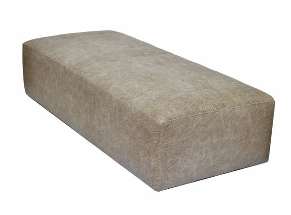 Faux Shagreen Leather Modern Bench on Casters