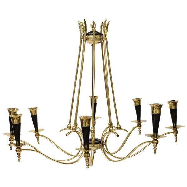 Italian Brass 8 Arm Chandelier