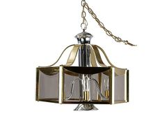 F. Ramond Brass & Chrome Chandelier