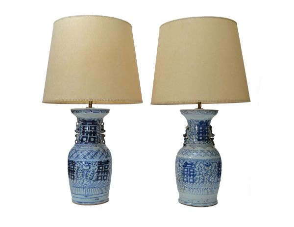 Chinese Blue Gray Pottery Table Lamps with original Shades, A Pair