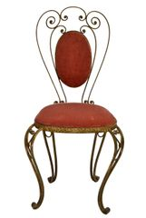 Italian Wrought Iron Vanity Chair with Pink velvet upholstery