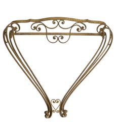 Wall Mounted Italian wrought Iron Console, Hallway Table Gold Finish