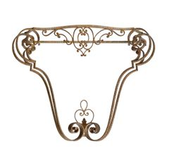Italian Florentine Wrought Iron Console, Hallway Table in Golden Finish