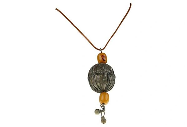 Antique Nigerian Ball & Beads Necklace Leather
