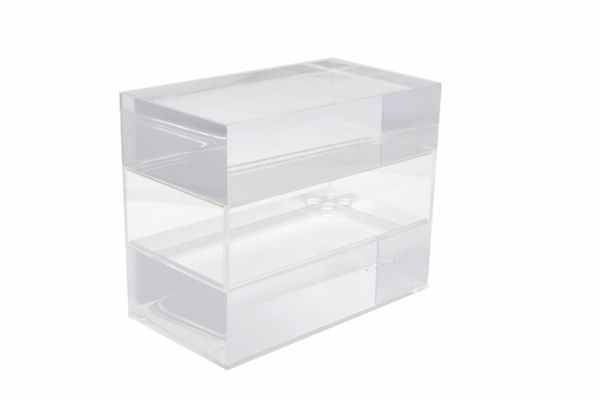 Jewelry Box in Clear Lucite w/ Transparent Center Piece.