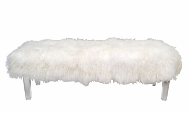 Tibetan Sheepskin Bench with Lucite Legs