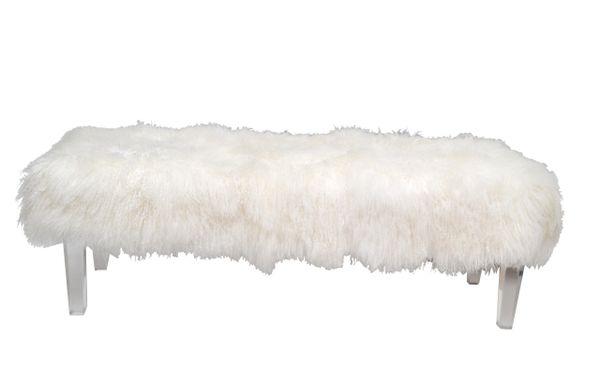 Tibetan Sheepskin Bench With Lucite Legs Galleria D