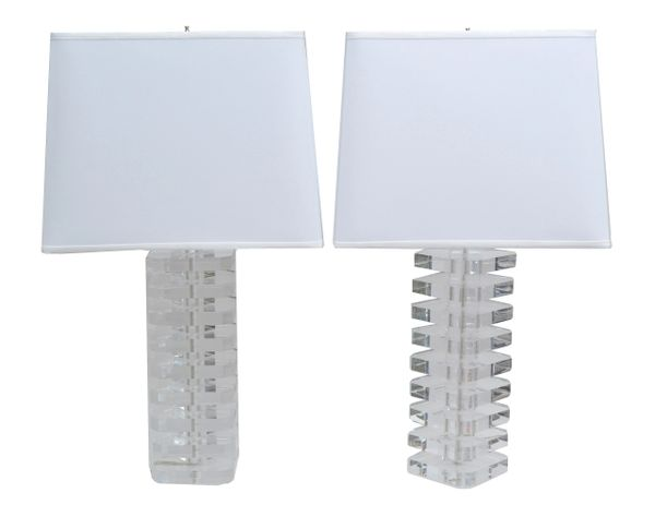 Modern Stacked Lucite Table Lamps - A Pair
