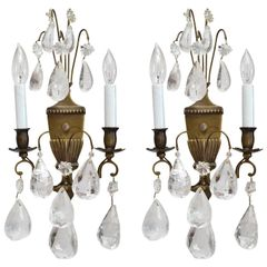 Bohemian Rock Crystal and Bronze Wall Sconces, a Pair