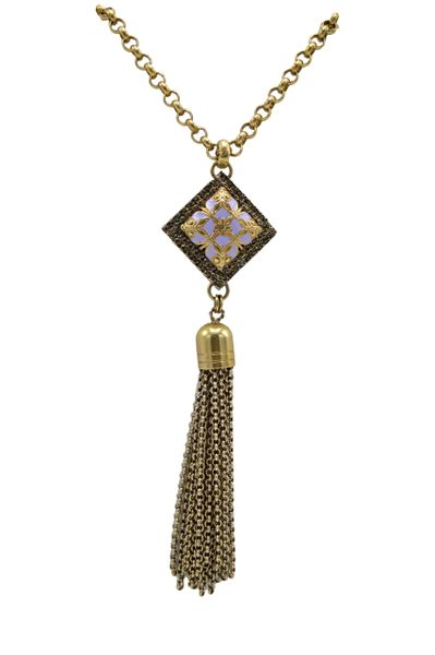 Long Vintage Pendant Golden Brass and Purple Stone Necklace by Justin Joy