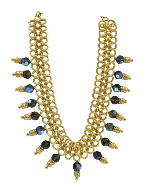 Italian Runway Necklace in Gold and Blue by Justin Joy