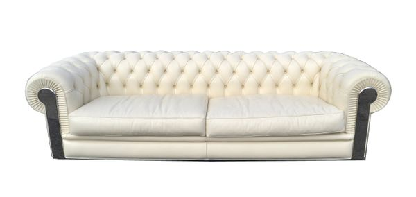 Original Fendi Albino Tufted Leather Sofa in Chesterfield Style