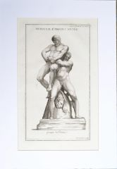 Anthaeus crushing Hercules a Copperplate Engraving