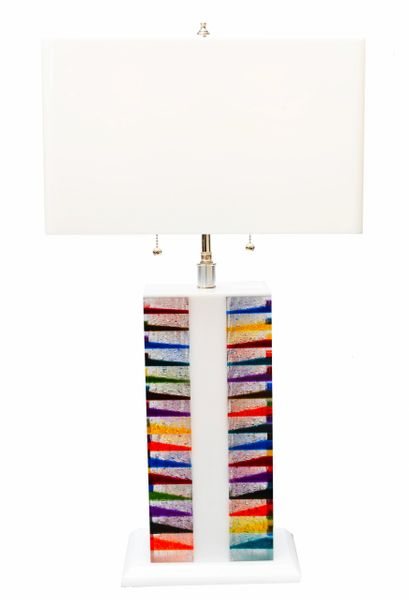 Skyscraper Style Lucite Table Lamp and Shade