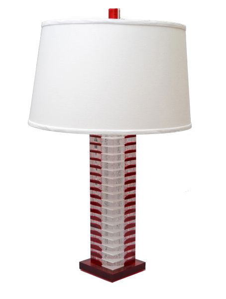 Stacked Tall Red White & Transparent Lucite Table Lamp
