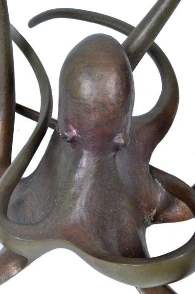 Solid Bronze Octopus Glass Coffee Table Galleria D Epoca Vintage Designer Furniture