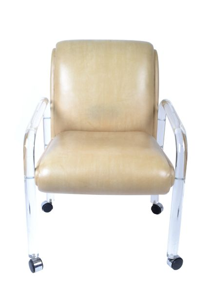 Attributed to Leon Frost Lucite and Vinyl Armchair, Desk Chair