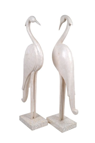 Two Marquis Collection of Beverly Hills Birds White Ivory Stone & Fossil Stone