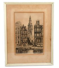 """Original Signed Etching """"Amsterdam"""" by Roodenburg."""