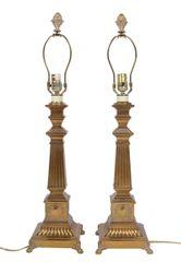 Pair of Bronze Obelisk Table Lamps