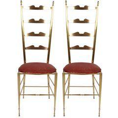 Italian Chiavari Bronze High Back Chairs, a Pair