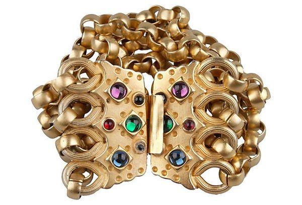 Goldtone Bracelet w/ Semi-Prescious Stones