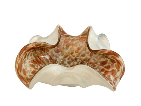 Bronze, White & Gold Dust Ruffled Murano Glass Bowl