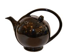 80s Stoneware Black Tea Pot