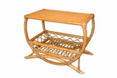 Vintage Bamboo Rattan Side Table with Lattice & Bentwood Design