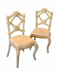 Venetian Wooden Rope & Tied Knot Accent Side Chairs - A Pair