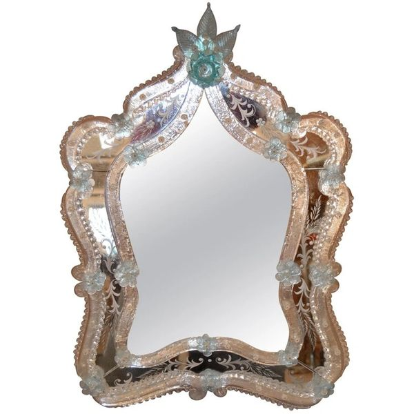 Fratelli Tosi Venetian Glass Vanity, Table Mirror with Blue Flowers Italy