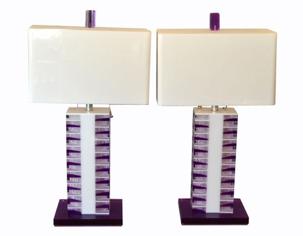 Modern Purple and White Lucite Table Lamps With Shades - a Pair