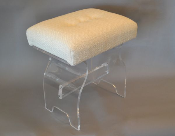 Marvelous Mid Century Modern Lucite Stool Footstool Vanity Stool In Boucle Fabric Machost Co Dining Chair Design Ideas Machostcouk