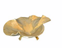 Large Hand-crafted Brass Lotus Leaf Bowl on Stand by Oskar J.W. Hansen