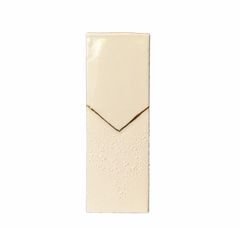 Two Texture Cream Ceramic Vase With Brass Inlay by SH