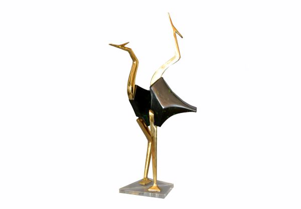 Stylized Brass and Wood Crane Sculptures on Lucite Base - a Pair