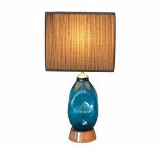 Mid-Century Modern Blue Hand Blown Art Glass Table Lamp