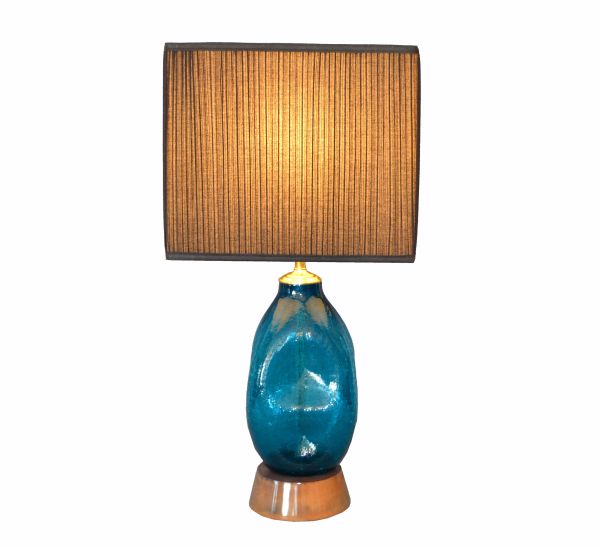Mid-Century Modern Blue Hand Blown Art Glass Table Lamp