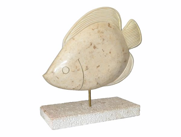 Maitland-Smith Tessellated Horn and Coral Fish Sculpture With Brass