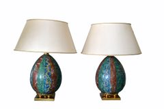 Italian Faux Marble and Brass Table Lamps from Florence - A Pair