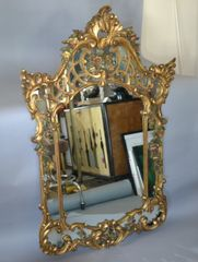 19th Century French Rococo Style Hand-carved Flowers Gilt Wall Mirror