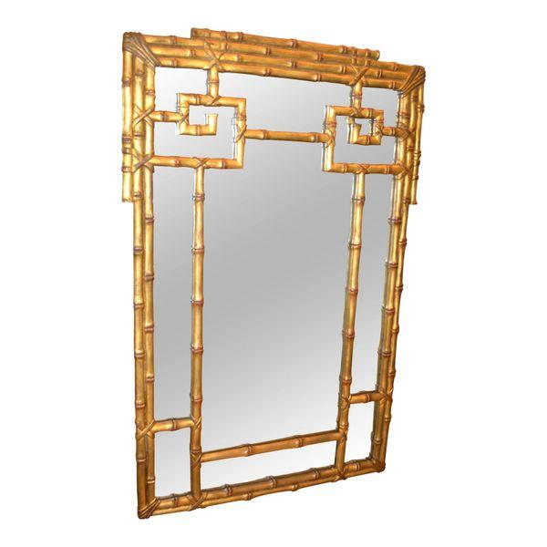 Hollywood Regency Gold Leaf Faux Bamboo Greek Key Wall Mirror