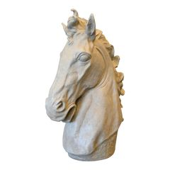 Mid-Century Modern Big Plaster Horse Head Sculpture