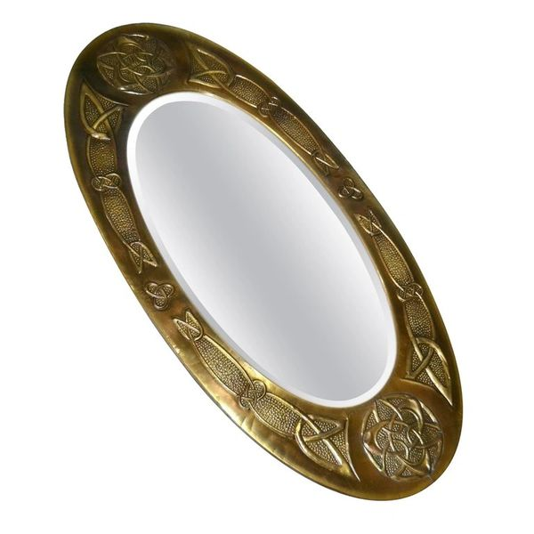 Arts and Crafts Celtic Knot Design Oval Bronze Wall Mirror from United Kingdom