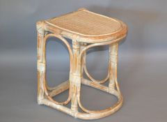 Vintage Bamboo & Cane White Washed Side Table, End Table