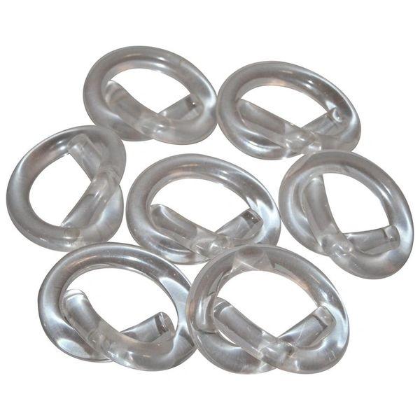Seven Dorothy Thorpe Lucite Napkin Rings in Pretzel Shape