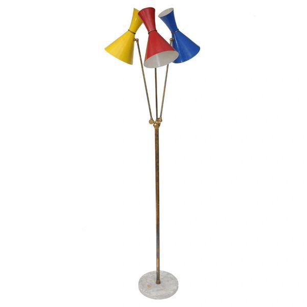 Vintage Stilnovo 3 Shade Floor Lamp from Italy