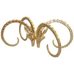 Hollywood Regency Bronze Rams Head Coffee Table Attributed to Alain Chervet